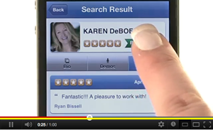 Karen DeBoer listing, Voices.com iPhone app
