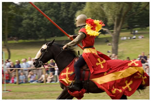 Knight on horseback jousting, champion