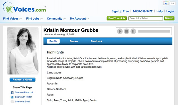 Kristin Montour Grubbs, profile at Voices.com