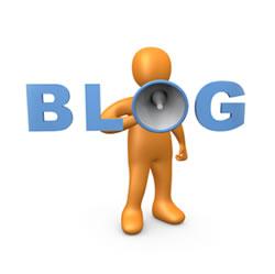 man blog megaphone