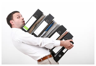 Man carrying binders