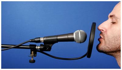 Man doing a voice recording