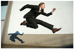 Man leaping in the air