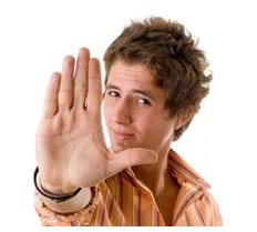 Man raising hand stop