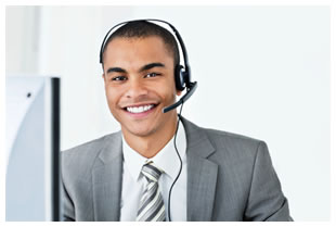 Man wearing a headset and answering calls at work