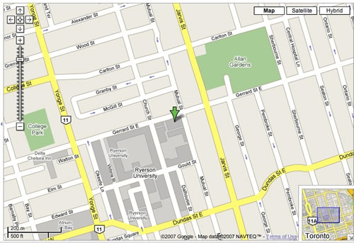 Google Map to Ryerson University in Toronto