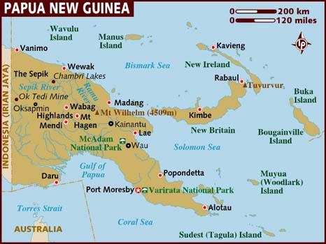 Map of Papua New Guinea (PNG)