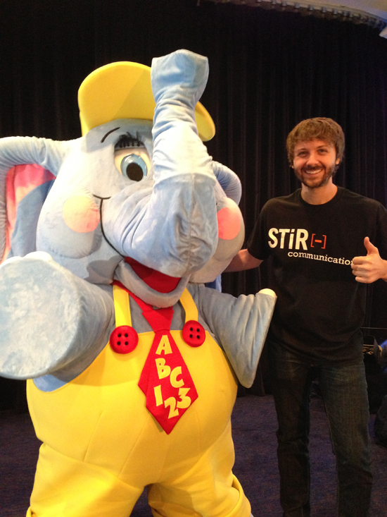 <br /> Maxwell Glick, the voice of Bubbles, pictured with Bubbles the Elephant