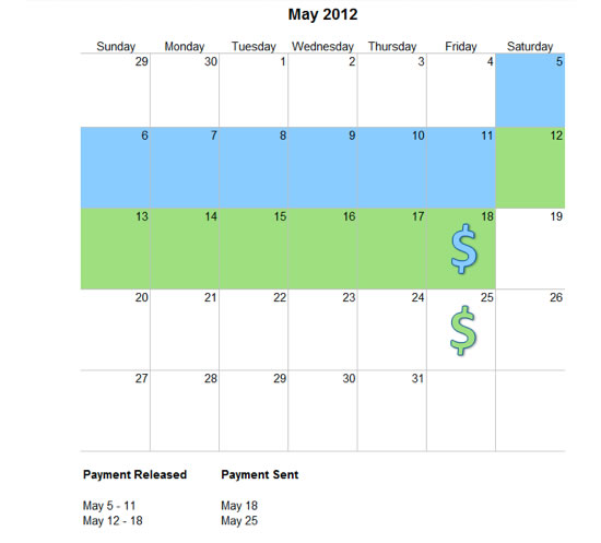 May 2012 SurePay payout schedule at Voices.com