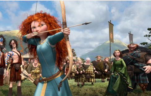 Merida from Brave shooting an arrow to win her own hand