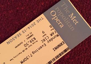 Metropolitan Opera ticket for Ernani starring Placido Domingo, March 2015.
