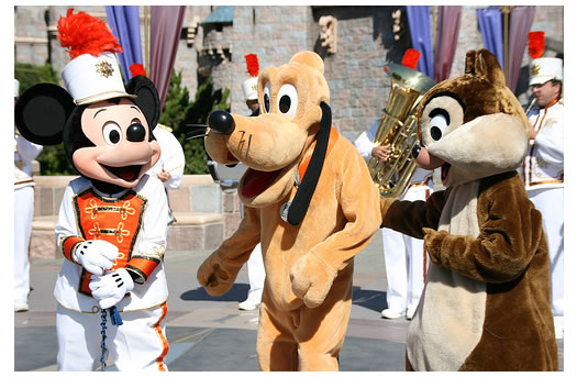 Mickey Mouse, Pluto and Chip or Dale in the Disney Parade