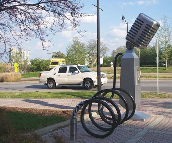 Microphone bicycle rack in Nashville, TN