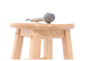 Microphone on a stool