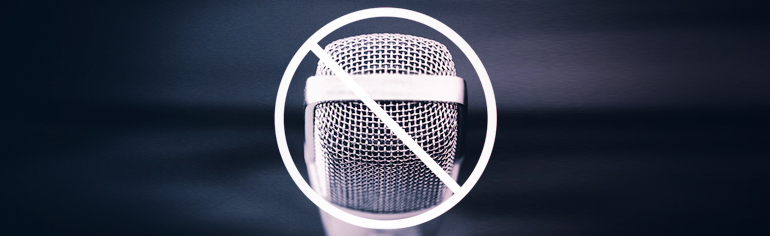 Microphone in a circle with a line through it - i.e. Don't do this, like No Smoking or No Dogs. 5 No-Nos for voice actors
