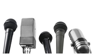 Microphones lined up