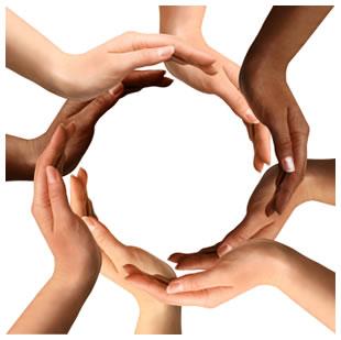 Multiracial hand circle
