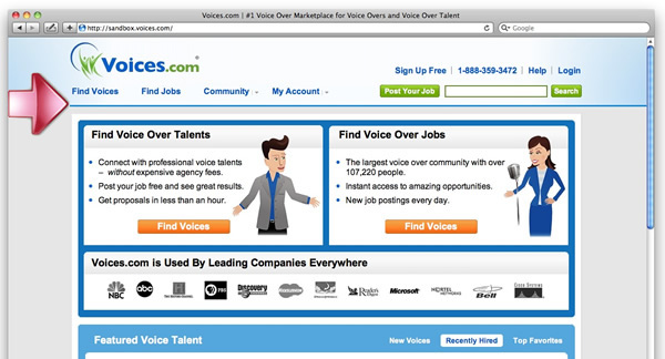 Voices.com 2010 Redesign