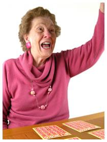 Old woman yelling bingo
