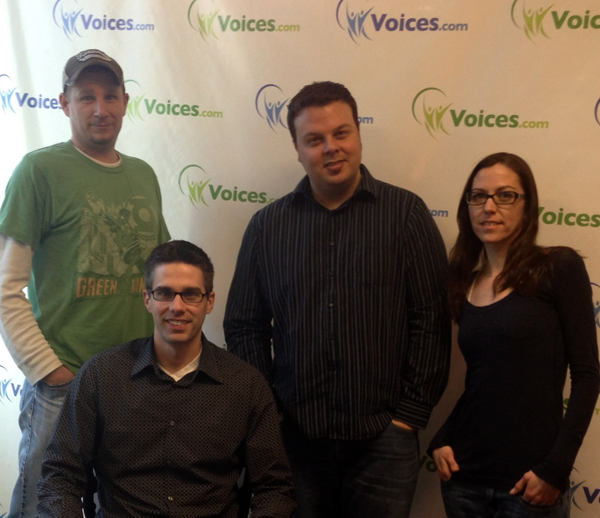 Ben Jackson, Grant Thomas, Melissa Kelman, Jeremy Eichler of Voices.com, serious picture