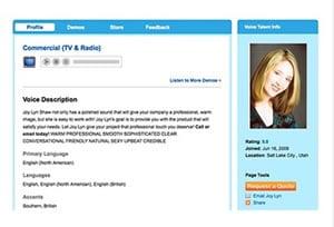 Profile screen shot, Voices.com Voice Talent Joy Lyn Shaw