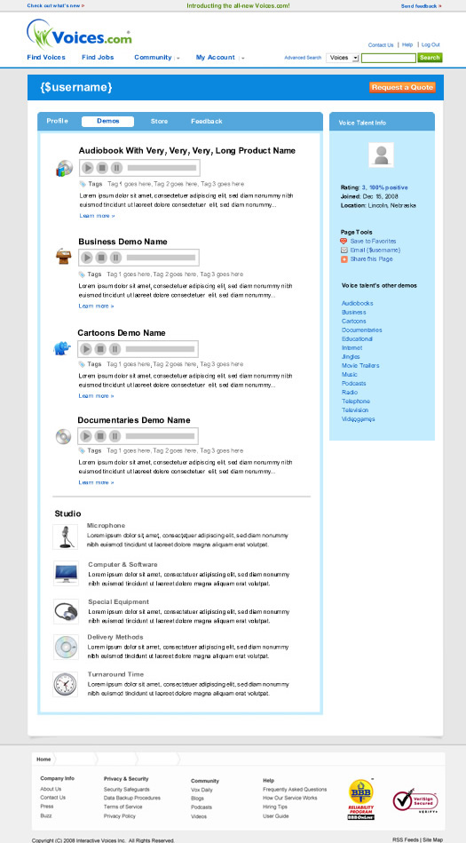 Profile Demos Section Voices.com