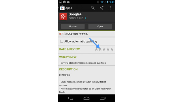 Android app rate and review submission, stars