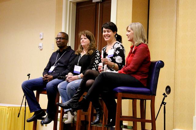 Rodney Saulsberry, Mary Lynn Wissner, Celia Siegel, Elaine Clark on the commercial vo panel at VO Atlanta 2014