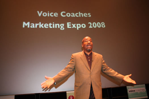 Rodney Saulsberry speaking at the Voice Coaches Expo