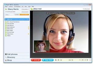 Woman doing a Skype conversation, video conferencing