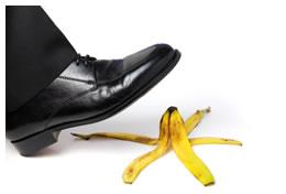Slipping on banana peel