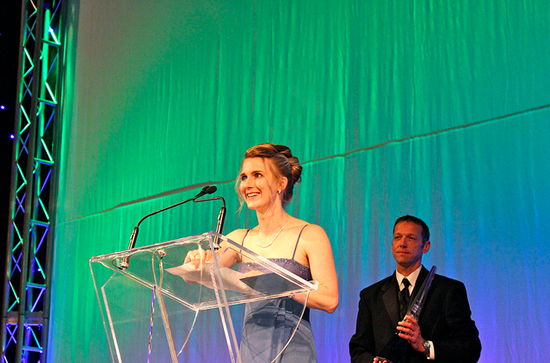 Stephanie Ciccarelli, co-founder of Voices.com, giving Voices.com's Business of the Year acceptance speech at the Business Achievement Awards in London, ON Canada.