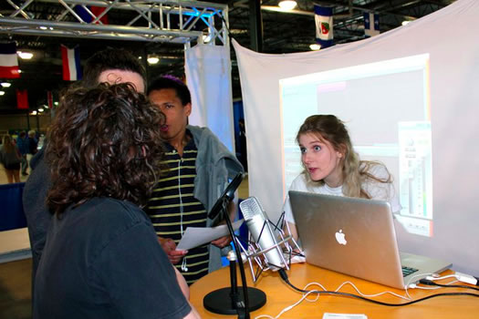 Stephanie Ciccarelli, co-founder of Voices.com, recording student voiceovers at SLOME 2011