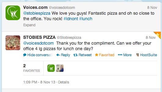 Stobie's pizza gives Voices.com 4 large pizzas for lunch party on Twitter