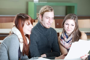 Students reading a script