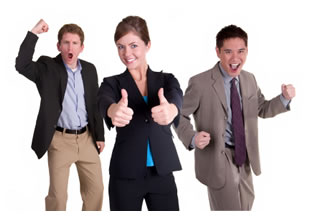 Successful happy businesspeople