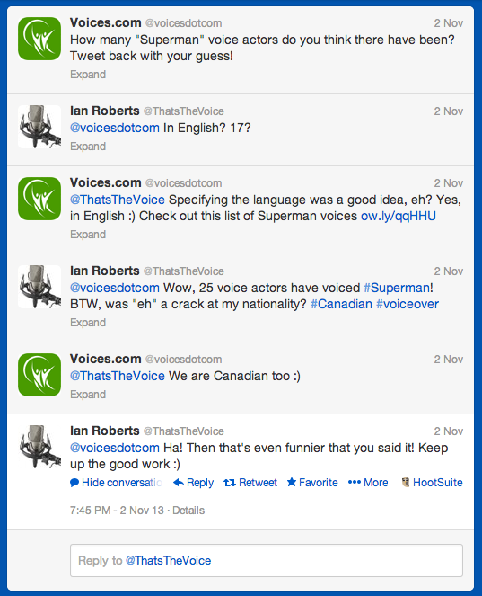 Superman voice-over conversation via Twitter - eh!