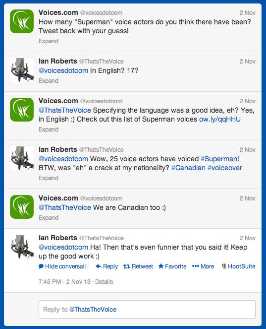 Superman voice-over conversation via Twitter - eh!