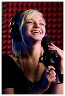 Teenage girl in recording studio