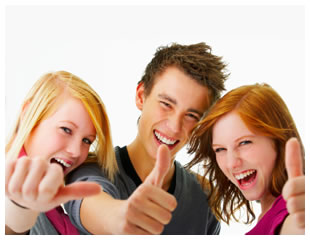 Teenagers thumbs up