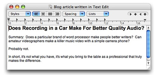 TextEdit Blog Article
