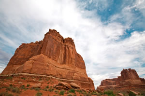 Tower of Babel rock formation with the 3 Gossips in Arches National Park near Moab, Utah.