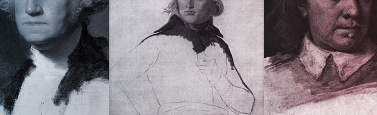 Image consists of works of art in the public domain, from left to right: Gilbert Stuart's unfinished 1796 painting of George Washington, also known as The Athenaeum, followed by David's unfinished portrait of Napoleon from 1798 and an unfinished portrait miniature of Oliver Cromwell by Samuel Cooper.