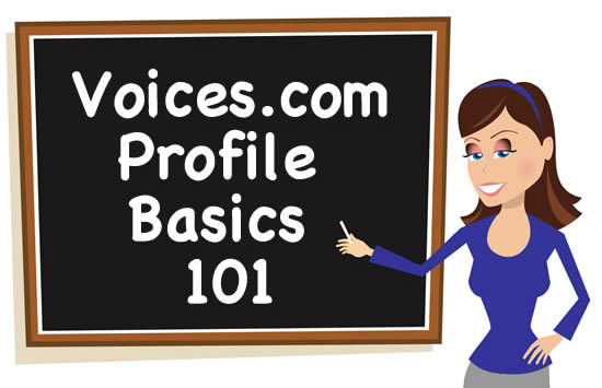 Voice Girl at the chalkboard teaching Voices.com Profile Basics