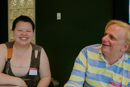 Voice Over London meeting at Voices.com. Pictured are Alice Khuu and Stefan Andrejicka.