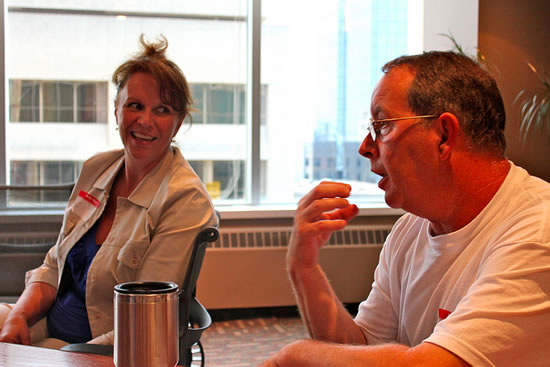 Voice Over London meeting at Voices.com. Pictured are Julie Simpson and Bob Purssglove.