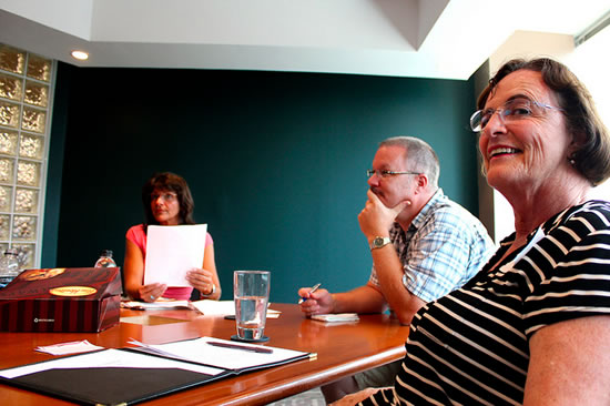 Voice Over London meeting at Voices.com. Pictured left to right: Leslie Pidlubny, Blair Wilson and Lorraine Jardine.