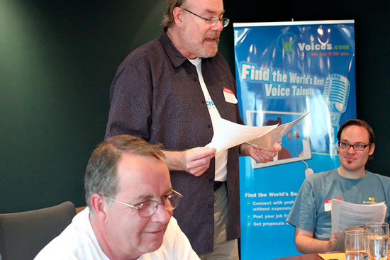 Voice Over London meeting at Voices.com. Pictured from left to right; Bob Purssglove, Doug Jeffery and Jeremy Dziewurski.
