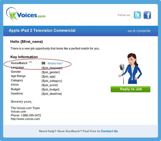 Snapshot of VoiceMatch mockup