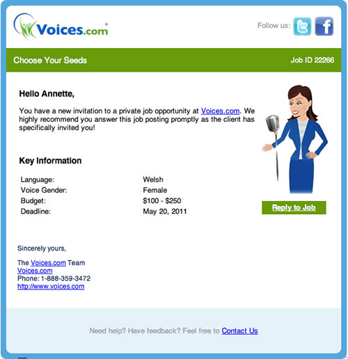Private invitation to audition for a Public Job at Voices.com